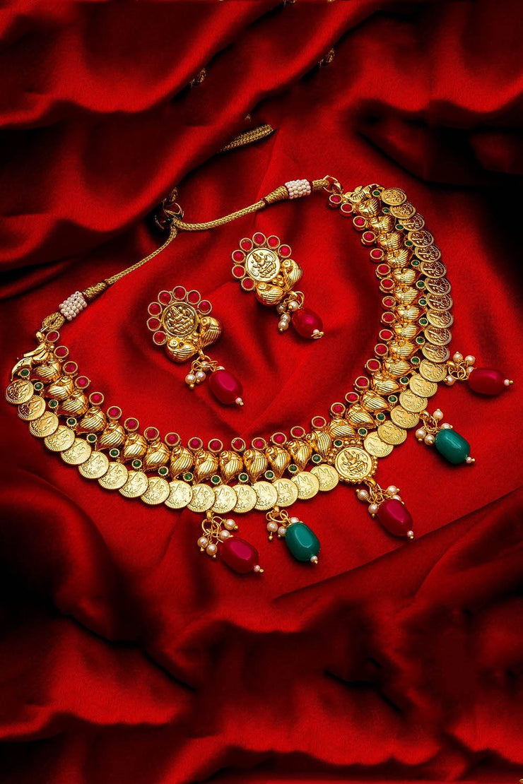 Buy Women's Alloy Necklace and Earrings Set in Gold Online