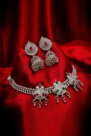 Buy Women's Oxidized Necklace Set in Silver