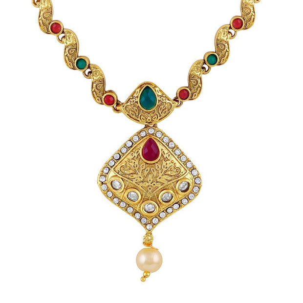 Asmitta Women's Alloy Necklace Set in Gold