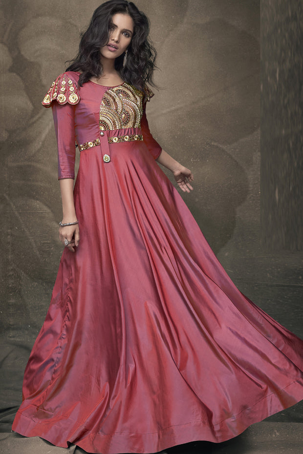Art Silk Embroidered Suits Set in Peach