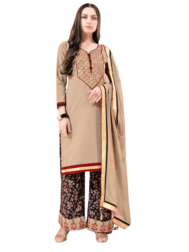 Women's Cotton Embroidered Dress Material in Brown
