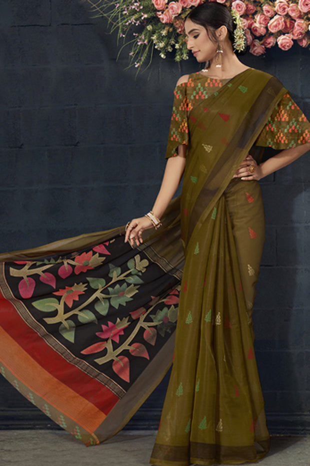 Organza Printed Saree in Olive Green