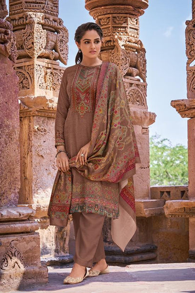 Pashmina Dress Material in Beige