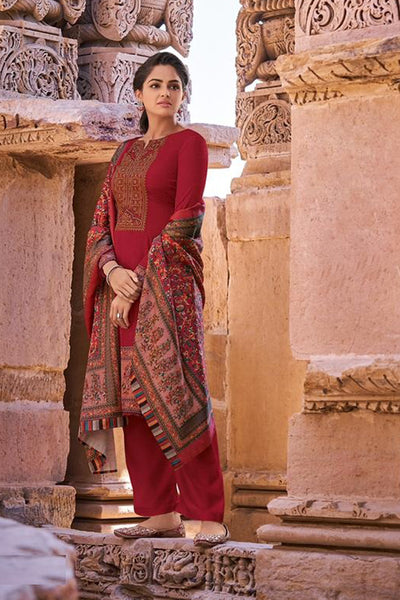 Pashmina Dress Material in Red