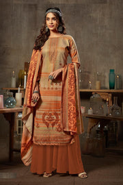Jacquard Dress Material in Brown