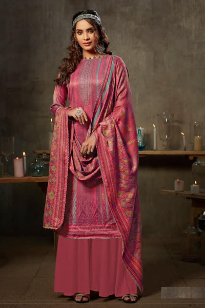Jacquard Dress Material in Pink