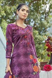 Pashmina Dress Material in Purple