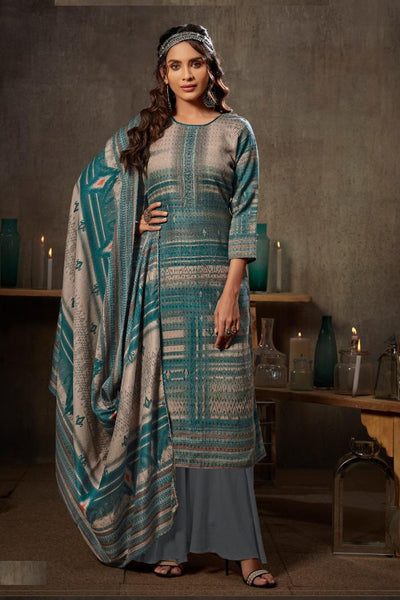 Jacquard Dress Material in Turquoise