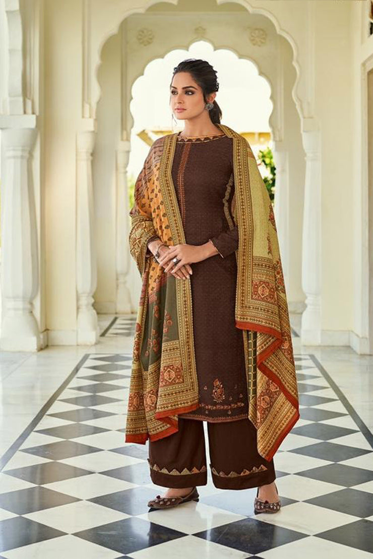 Pashmina Dress Material in Brown