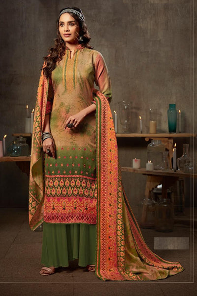 Jacquard Dress Material in Mehendi