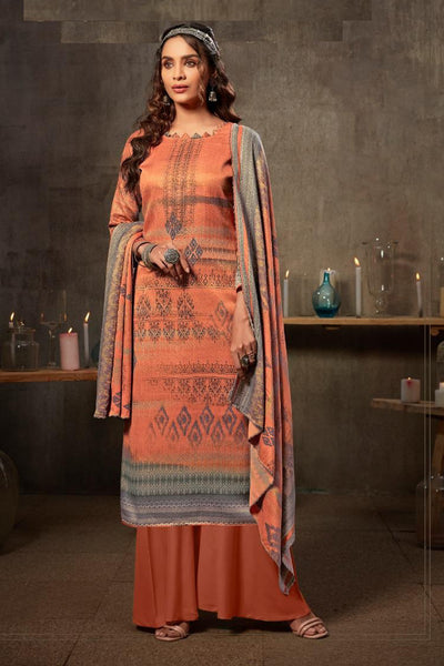 Jacquard Dress Material in Peach