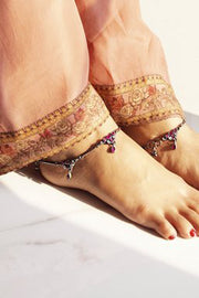 Women's Sterling Silver Anklet in Silver and Magenta