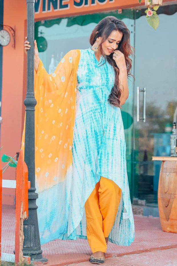 Thread & Button Cotton Printed Suit Set in Sky Blue