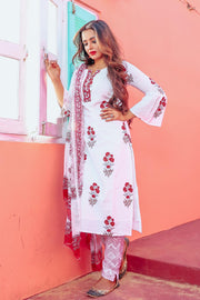 cotton Printed Suit Set in White