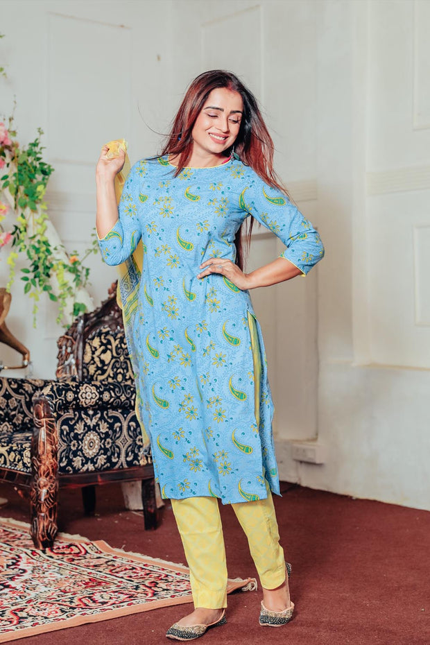 Cotton Printed Suit Set in Blue
