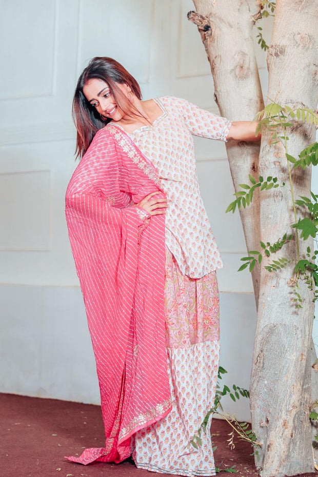 Thread & Button Cotton Printed Suit Set in Pink