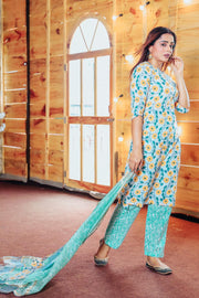 Thread & Button Cotton Printed Suit Set in Blue