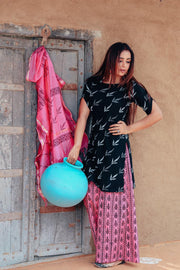 Thread & Button Cotton Printed Suit Set in Black