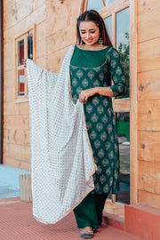 Rayon Printed Suit Set in Green