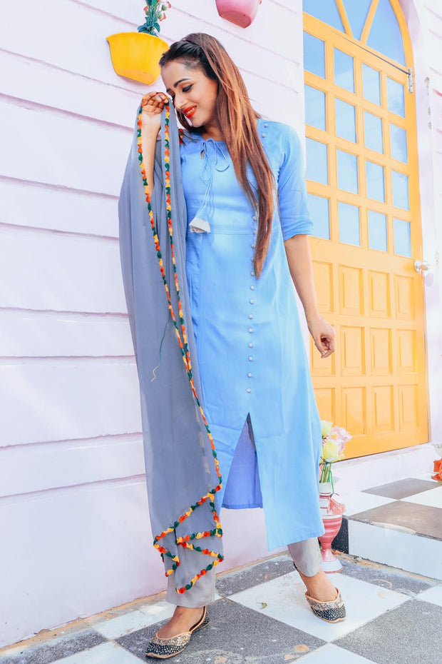 Thread & Button Rayon Printed Suit Set in Blue