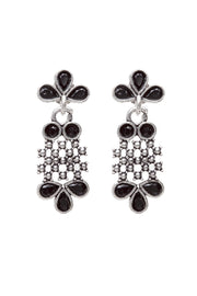 Women's German Silver Drop Earrings in Black
