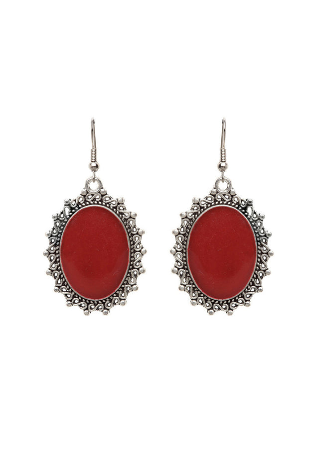 Women's German Silver Hoop Earrings in Red