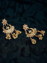 Women's Brass Jhumka Earrings in Gold