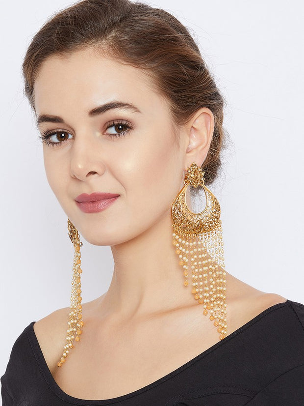 Women's Brass Drop Earrings in Gold