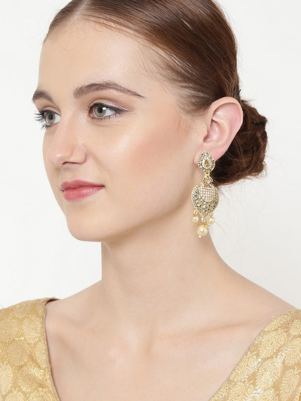 Women's Alloy Drop Earrings in Gold