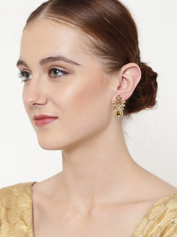 Women's Brass Stud Earrings in Gold