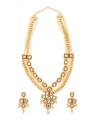 Women's Alloy Necklace and Earring Set in Gold and Maroon
