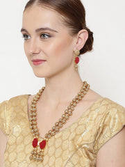 Women's Alloy Necklace and Earring Set in Gold and Red