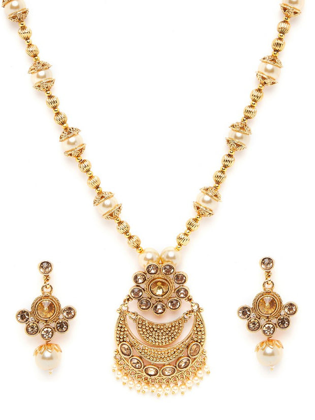 Women's Alloy Necklace and Earring Set in Gold