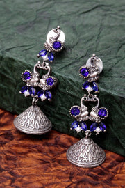 Women's German Silver Drop Earrings in Blue