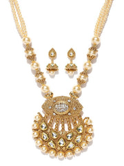 Women's Alloy Necklace and Earring Set in Gold and Off-White