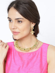 Women's Copper Necklace and Earring Set in Gold