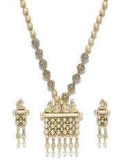 Women's Copper Necklace and Earring Set in Gold and Off-White