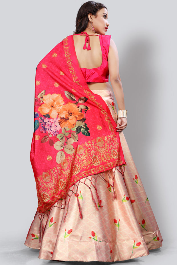 Art Silk Printed Lehenga Choli in Light Peach