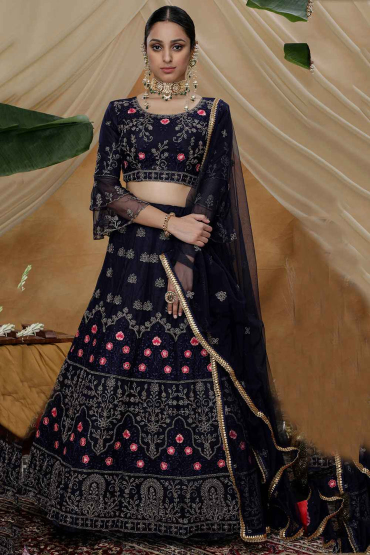 Buy Net Embroidery Lehenga Choli in Navy Blue