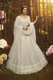 Buy Faux Georgette Embroidery Lehenga Choli In Off White