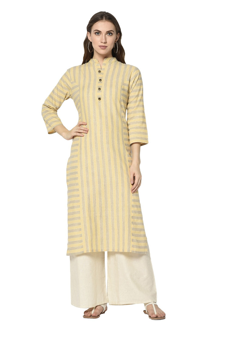Buy Women's Blended Cotton Printed Kurta in Light Yellow
