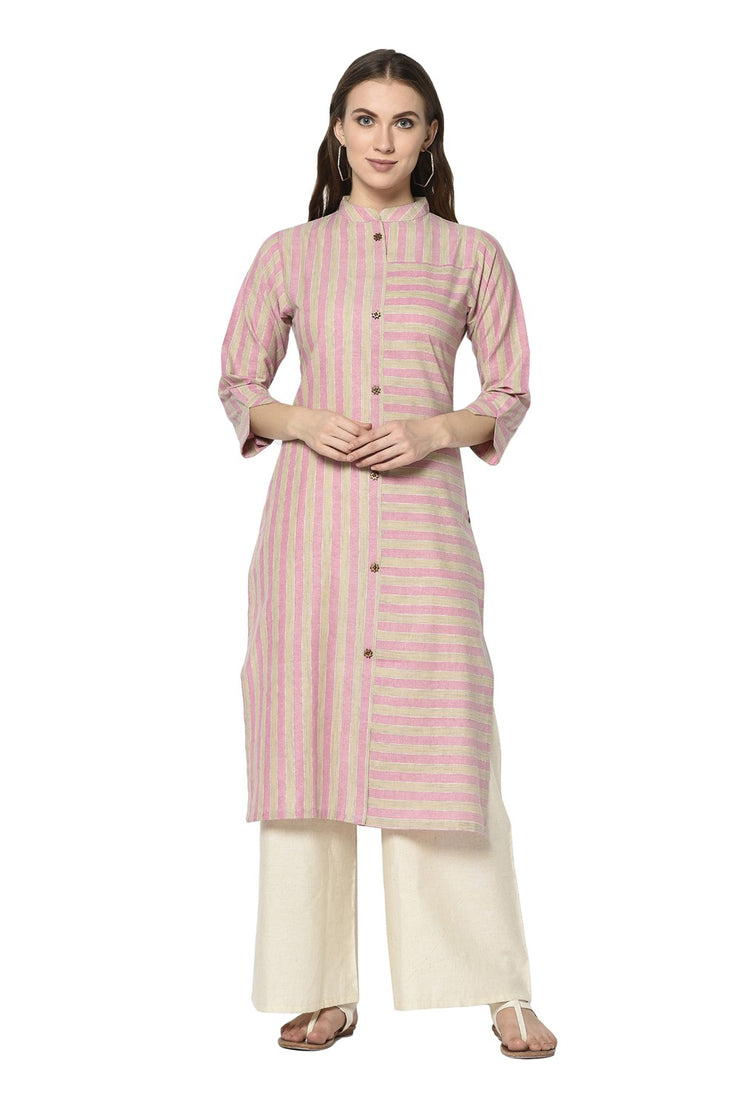 Buy Women's Blended Cotton Printed Kurta in Light Pink