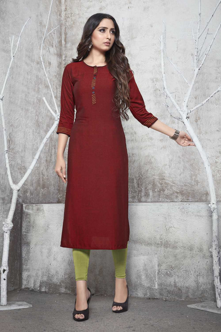 Buy Women's Rayon Plain Kurta in Red