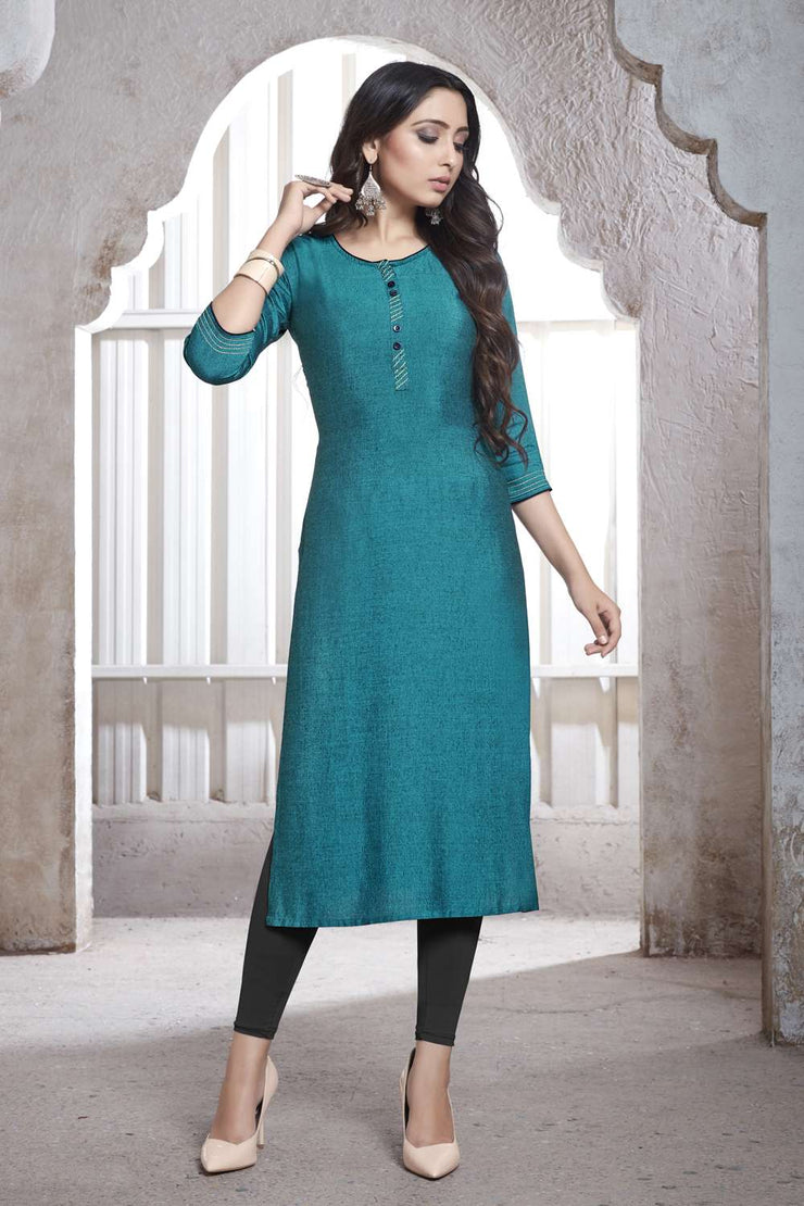 Buy Women's Rayon Plain Kurta in Blue