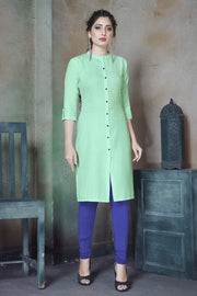 Buy Women's Blended Cotton Solid Kurta in Sea Green
