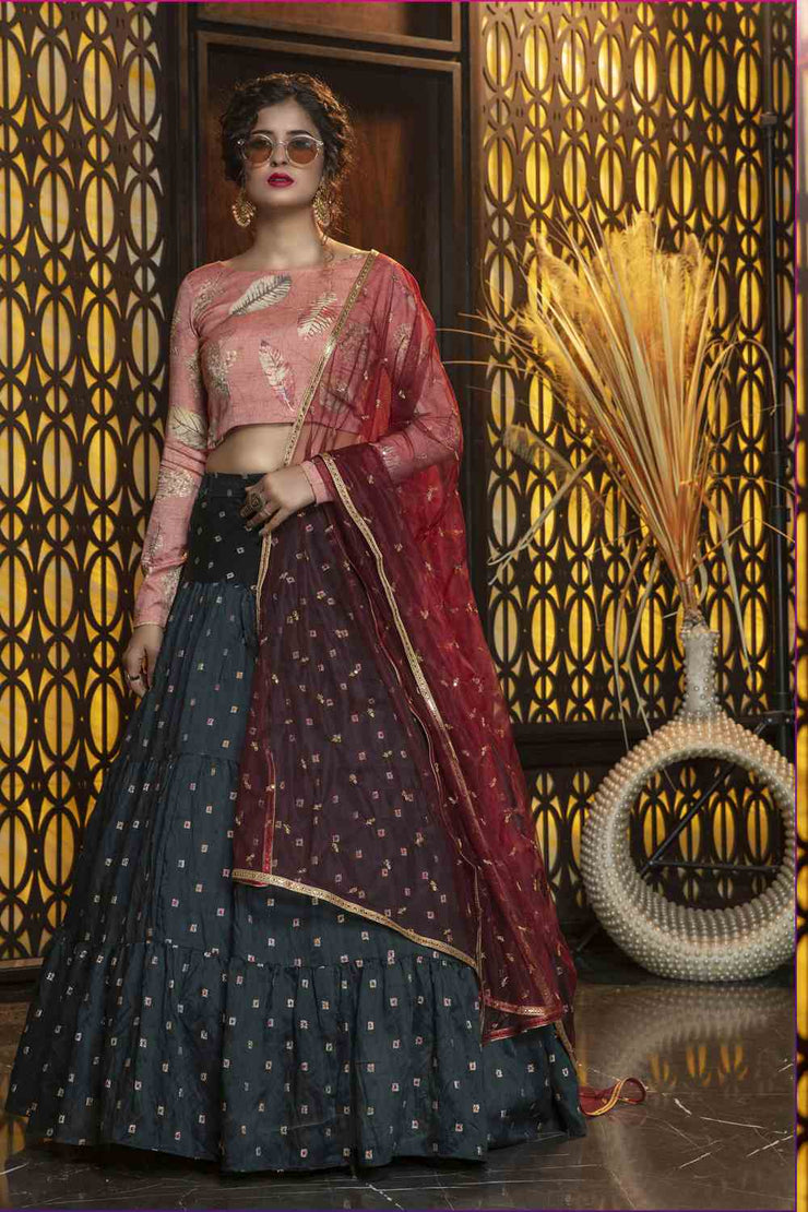 Buy Blended Cotton Embroidery Lehenga Choli In Pine Green