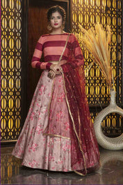 Buy Rayon Printed Lehenga Choli In Dusty Pink