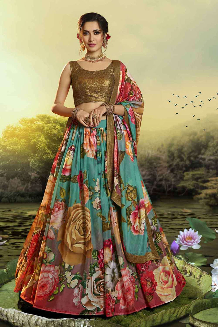 Buy Organza Printed Lehenga Choli in Green and Red