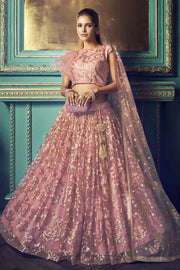 Buy Net Zari Work Lehenga Choli In Dusty Pink