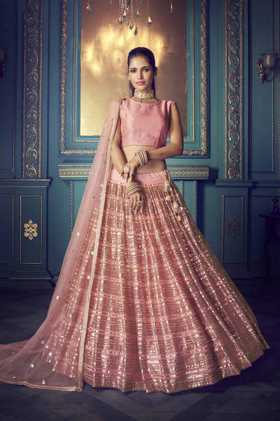 Buy Net Zari Work Lehenga Choli In Pink
